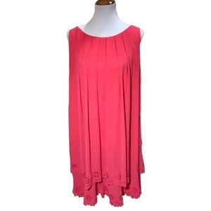 Jessica Simpson Draped Swing Dress Coral Plus Size